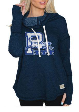 Original Retro Brand Pitt Panthers Womens Navy Blue Funnel Neck Hoodie