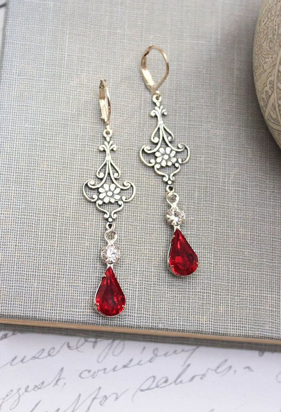 Ruby Red Crystal Glass Silver Filigree Earrings