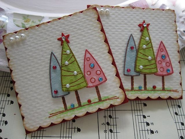 Christmas Tree Embellishments. These are tags but I like this idea for a card. by vsroses.