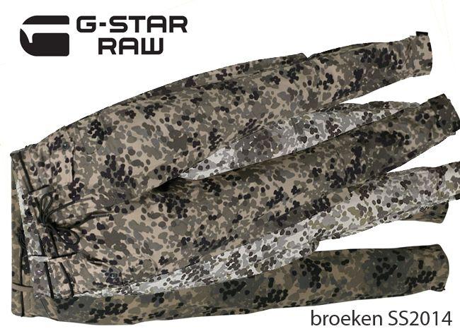 De G-Star RAW dames broeken lente zomer 2014. aast de jeans broeken, ook hier de camouflage print zowel in de lange uitvoering als short     , MEER http://www.pops-fashion.com/?p=10601