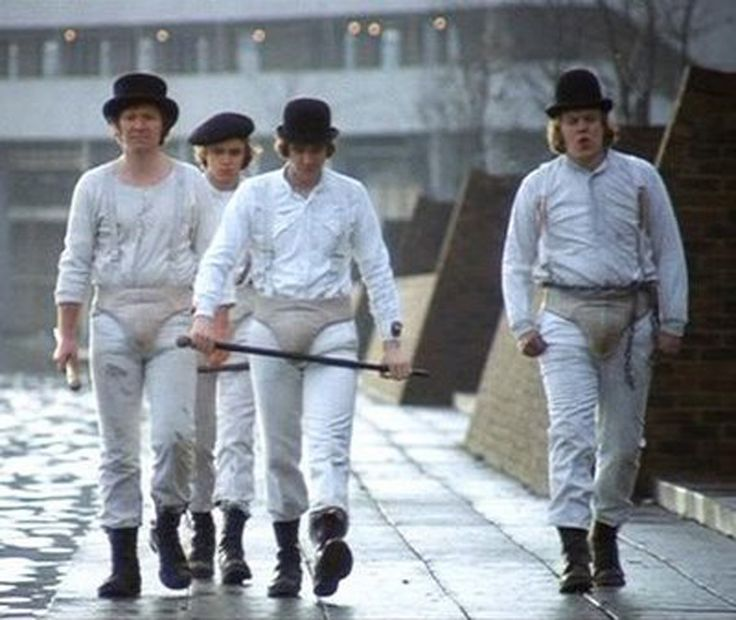 The Droogs, from A Clockwork Orange. The clothing looks way too clean, but you get the idea.