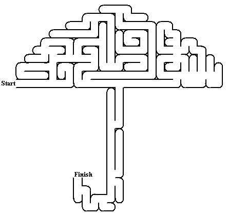 Umbrella maze Themes April Printable mazes Mazes for