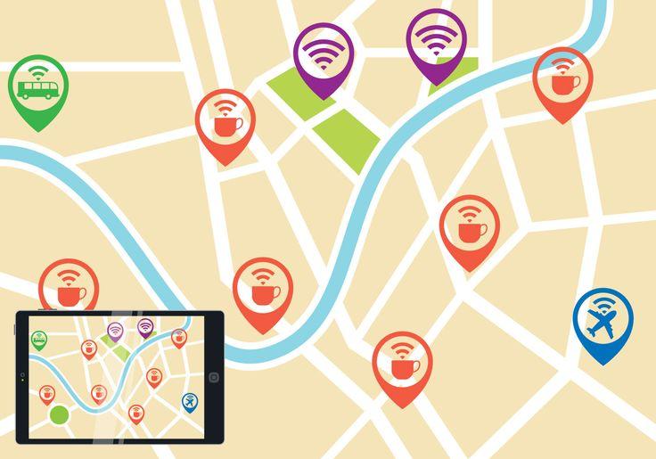 El Internet y los puntos wi-fi es una herramienta vital para la empresa moderna, los medios sociales, redes sociales y casi todo el entretenimiento. Este archivo tiene un mapa con punteros y varios iconos de wi-fi en al aire libre como cafetería, autobuses, aeropuerto.
