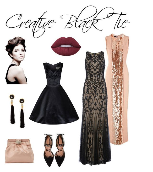 Creative Black Tie by annabaranovskaya on Polyvore featuring мода, ESCADA, Raishma, Zara, Valentino, Lizzie Fortunato, Lime Crime, Angelo and dresscode