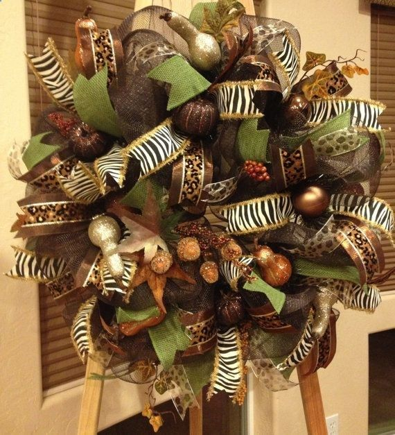 Fall Deco Mesh Wreath features double fudge by WredWrockWreaths, $139.00 .