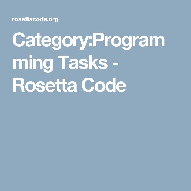 Category:Programming Tasks - Rosetta Code
