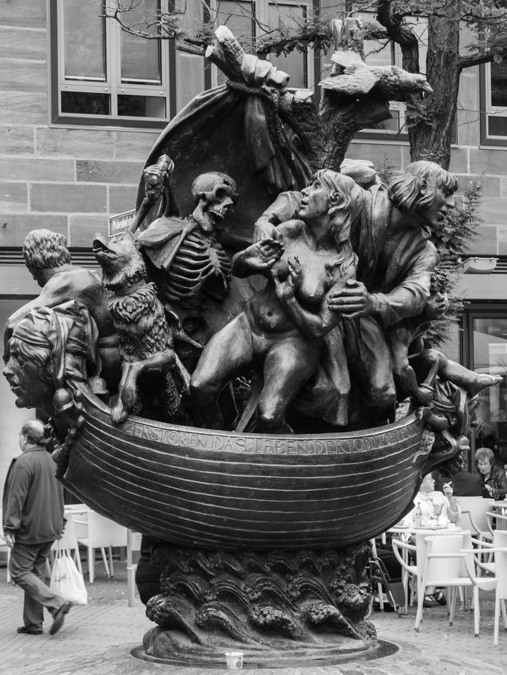 """Ship of Fools  Seen in Nürnberg, Germany. This sculpture is inspired by a woodcut by Albrecht Dürer which illustrated the novel """"Das Narrenschiff"""" by Sebastian Brant (1497)"""