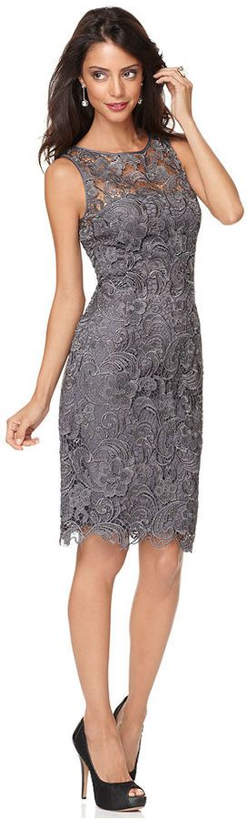 Adrianna Papell Sleeveless Lace Sheath.  Nothing's as elegant or alluring as lace for an evening affair, and Adrianna Papell's chic sheath is case in point. The sheer overlay at the chest and scalloped hem are flirty-yet-refined touches. Polyester combo: polyester/elastane lining: polyester. Dry clean. Imported. High neckline. Back zipper; keyhole with hook-and-eye closure. Sleeveless. Lace overlay; sheer at chest. Scalloped hem. Fitted sheath silhouette. Padding at bust. Lined. Hits at…