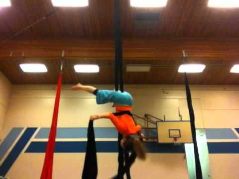 The Pi Drop on Aerial Silks- cute drop, would easily transition into salto or slack straddle drop