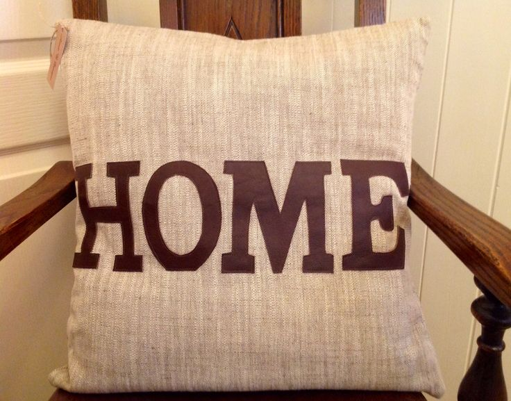 """18"""" feather filled cushion with real leather lettering"""
