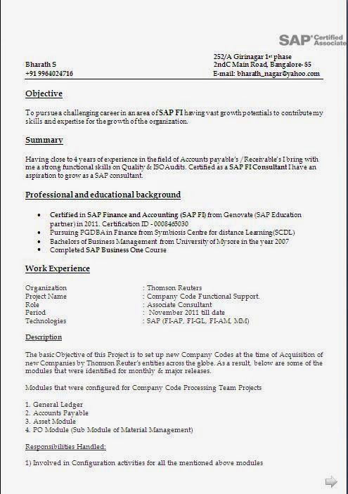 sap abap sample resume for 8 years experience