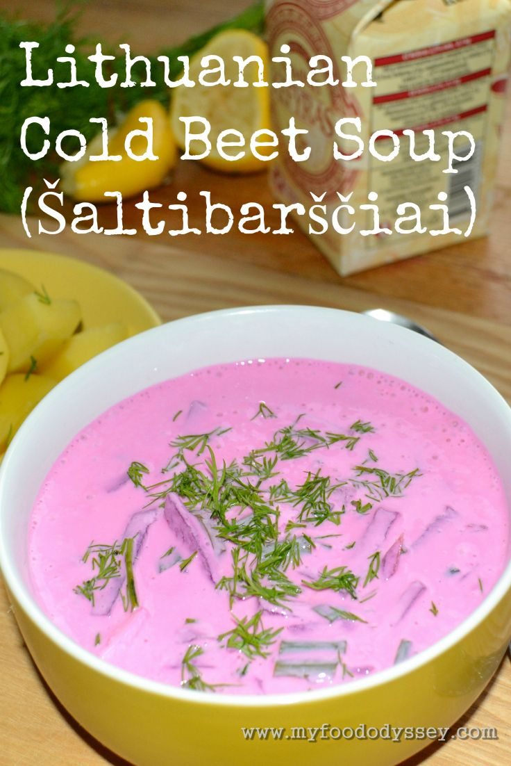 Lithuanian Cold Beet Soup | Saltibarsciai (Recipe). Cold borscht soup made with grated beetroot and milk kefir, served with a side of boiled potatoes.