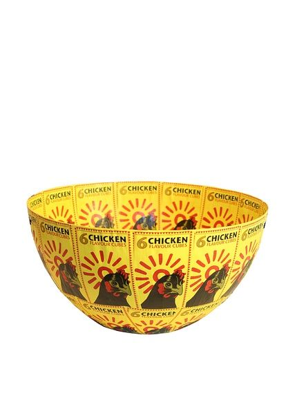Asian Loft South African Chicken Label Paper Mache Bowl, Yellow/Black/Red at MYHABIT
