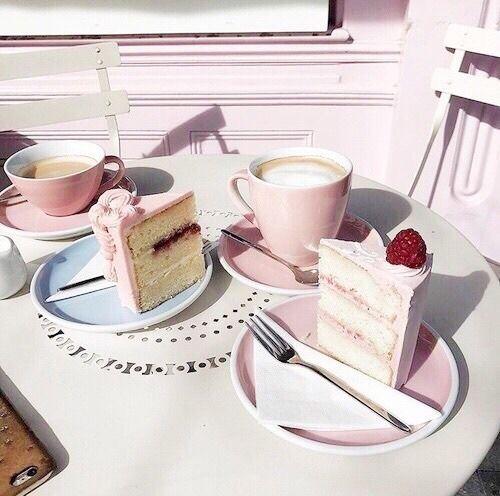 #cake #pink #coffee #cute