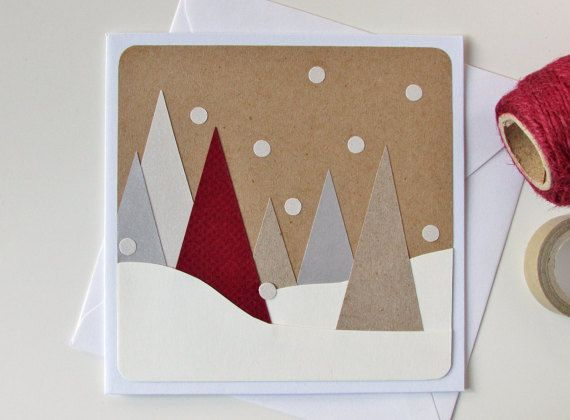 Handmade Christmas Card - Christmas Modern Card - Christmas Tree Card - Xmas Card - Seasonal Card - Christmas Greeting Card - Winter - Snow