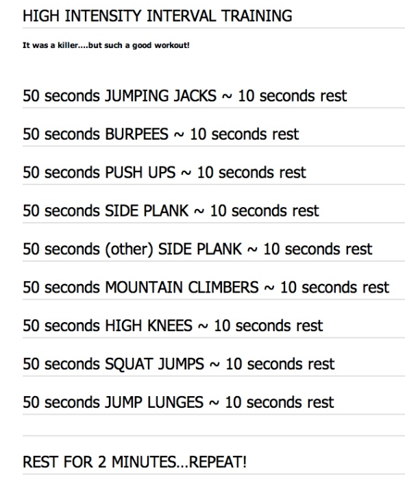 The Daily HIIT (aka Body Rock TV).  Love their workouts - new one posted online daily. This one is great - tough - but great. http://www.dailyhiit.com/