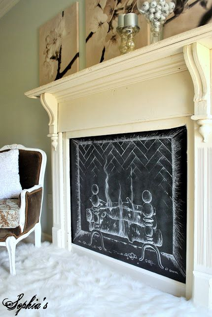 Faux Fireplace - just paint a chalkboard!