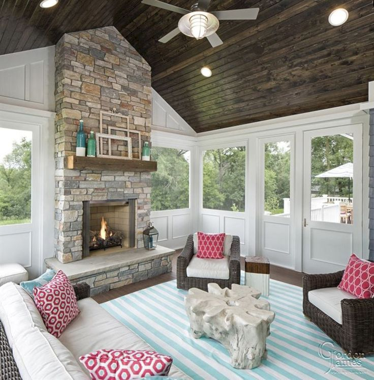 Wonderful Deck Fireplace Ideas Part - 9: Wonderful Screened In Porch And Deck Idea 58