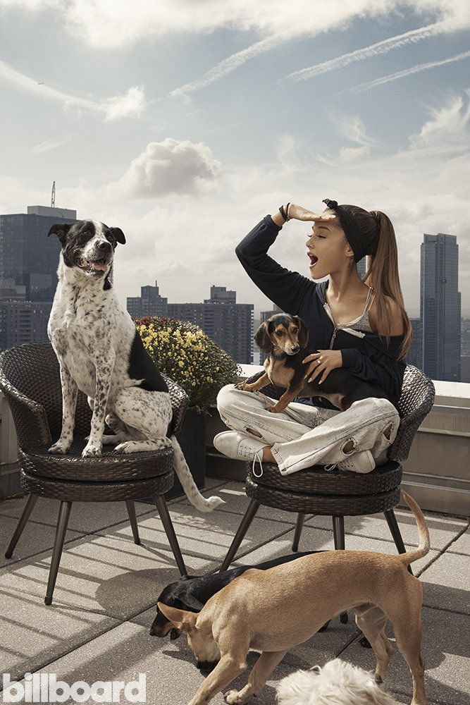 """Ariana Grande and Her Rescue Dogs """"I got involved with dog rescues by simply loving animals,"""" says Ariana Grande. """"Dogs are the most harmless, sweetest babes in the world. They show nothing but unconditional love, so they deserve that in return."""""""