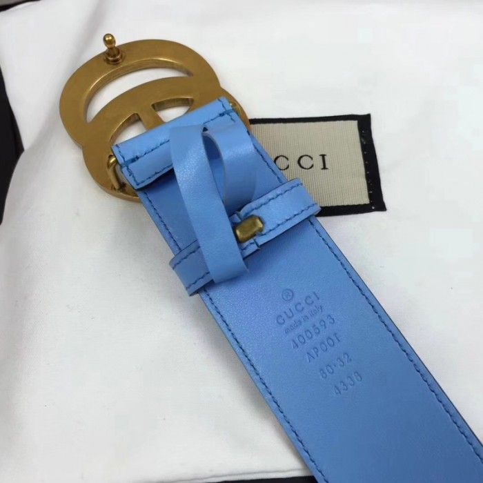 841f16a5544 Gucci Leather belt with Double G buckle blue 400593 Gucci Leather Belt