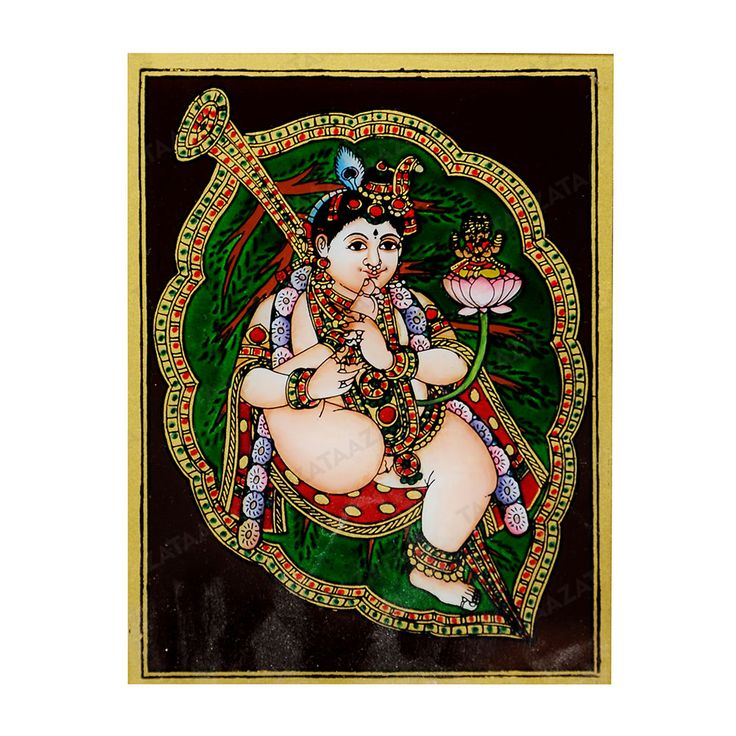 Leaf Krishna | Glass Painting |  Material: Glass Other Material: Glass colors, Gold powder Dimensions( LxW): 6x8 Inches Package Contents: 1 Leaf Krishna Painting