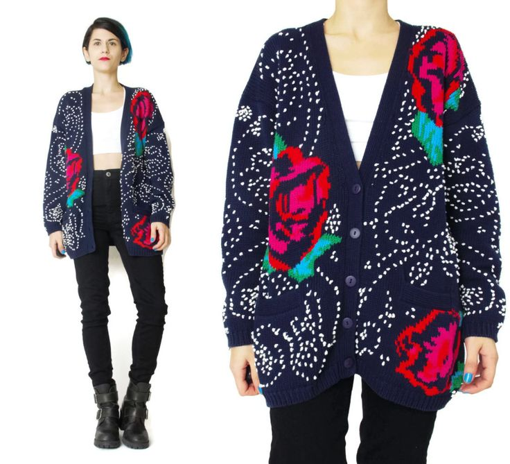 New to honeymoonmuse on Etsy: 80s Rose Floral Cardigan Vintage Embroidered Cardigan Slouchy Sweater Grandma Navy Blue Cardigan Winter Polka Dot Button Up Cardigan (L) (55.00 CAD)