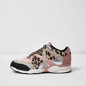 Metallic and Leopard Print Trainers from River Island R1300,00