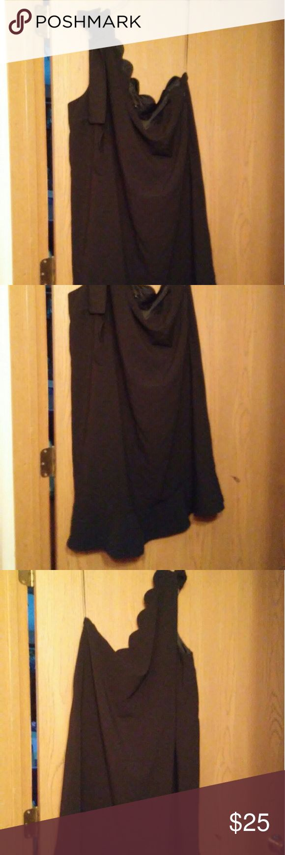 Victoria Beckham dress Black ruffled edge one strap dress in excellent condition.  No fade. Victoria Beckham for Target Dresses