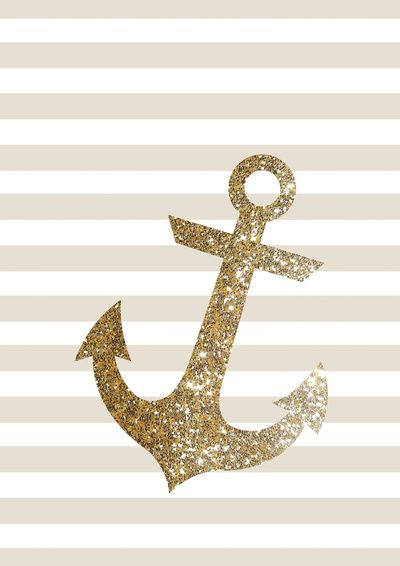 GLITTER ANCHOR IN GOLD Art Print
