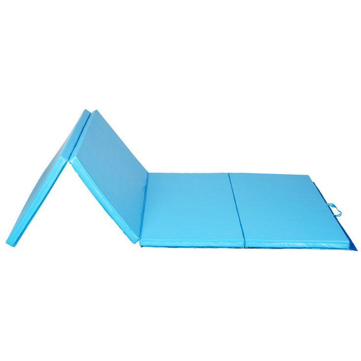 "4'x8'x2"" Gymnastics Mat Folding Panel Gym Exercise Tumbling Yoga Mat Pad Blue #Goplus"