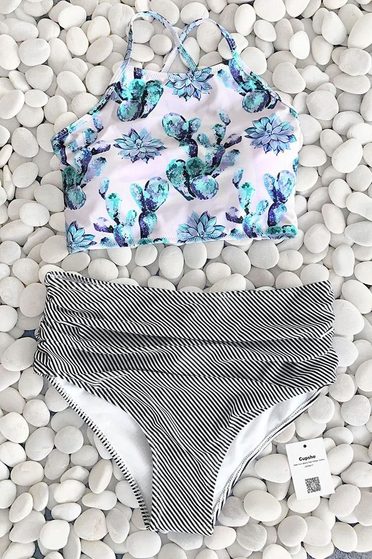 Cupshe Cute Succulent Plants Floral Bikini Set