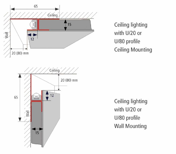 Light cove diagrams. The top is for a recessed lighting channel. The light will drop down the adjacent wall. With the bottom structure the light will go up towards the ceiling.