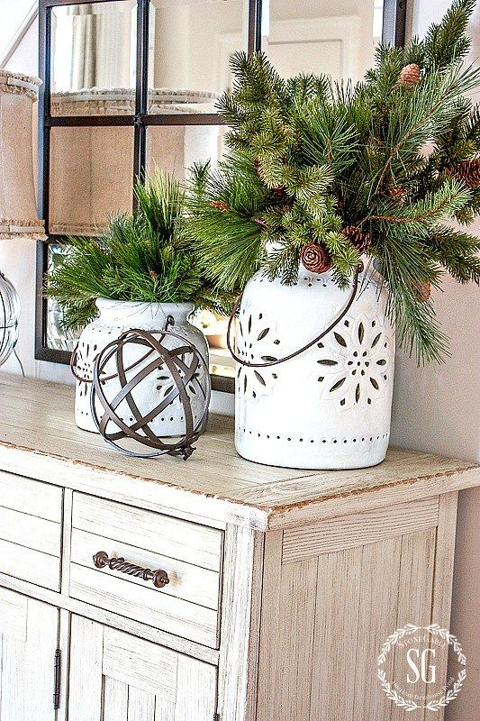 DECORATING WITH FAUX GREENS- You can create beautiful and real looking Christmas arrangement using faux greens. Here's how...