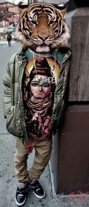 This is especially clever if that's Durga on the t-shirt (I can't quite  tell), because she travels on a tiger/lion! (Hindu deities all have  vehicles ...