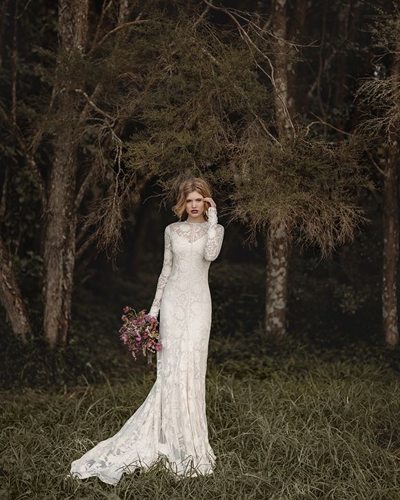 Wide lace long sleeve wedding dress. Bridal Inspiration by Rue de Seine and Jessica Sim
