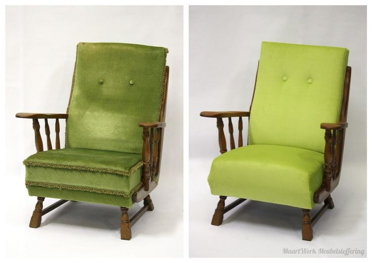 Upholstery classic chair, before and after picture.
