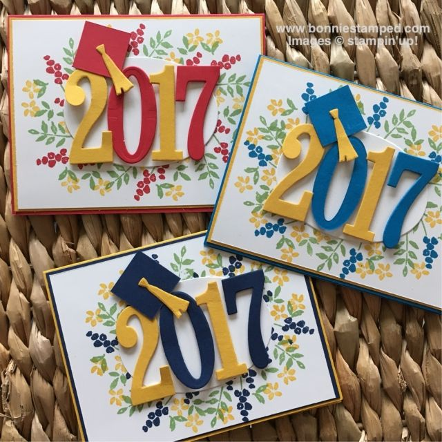 handmade graduation cards ... die cut big numbers  in school colors for the year ... little mortar boards on the two ...