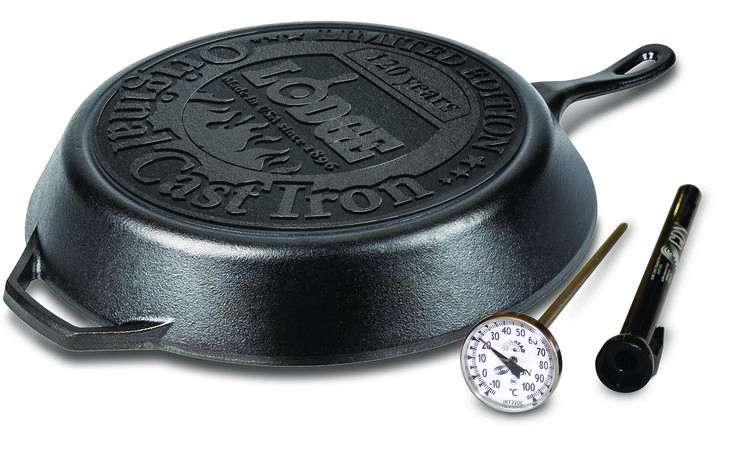 Purchase the Lodge Limited Edition, customised anniversary skillet featuring an imprinted base and receive a CDN cooking thermometer for FREE.