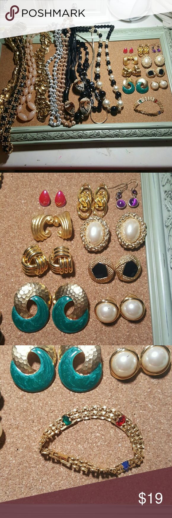 20 PC MASSIVE 80S JEWELRY BUNDLE Authentic jewelry from the 80s, straight from my aunt's closet. It's all in good condition and awesome for vintage looks. 9 pairs of earrings, 1 bracelet, 10 necklaces. Jewelry Necklaces
