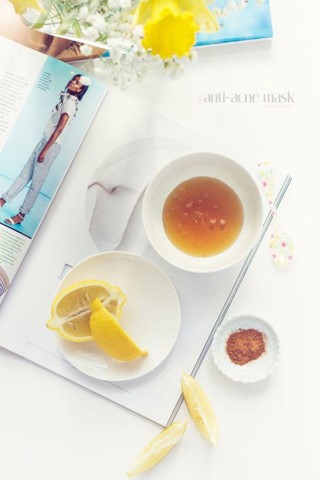 easy diy anti acne mask. 2 tbsp pure honey, 1 tsp cinnamon, and 1 wedge of fresh lemon juice