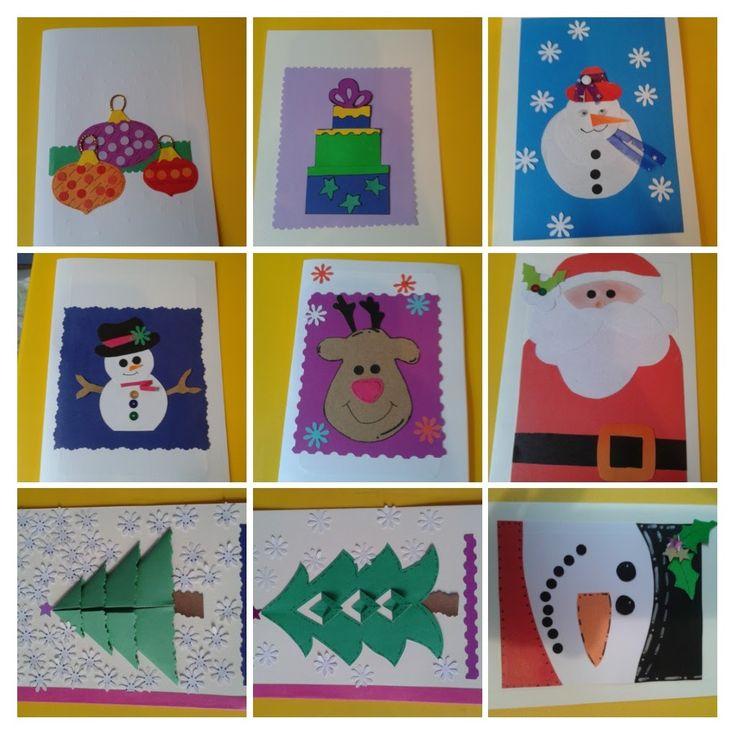 Tarjetas de Navidad hechas a mano.  Tomamos las ideas  y ... Aquí esta nuestra versión . las hicimos con una amiga y vendimos muchas !!