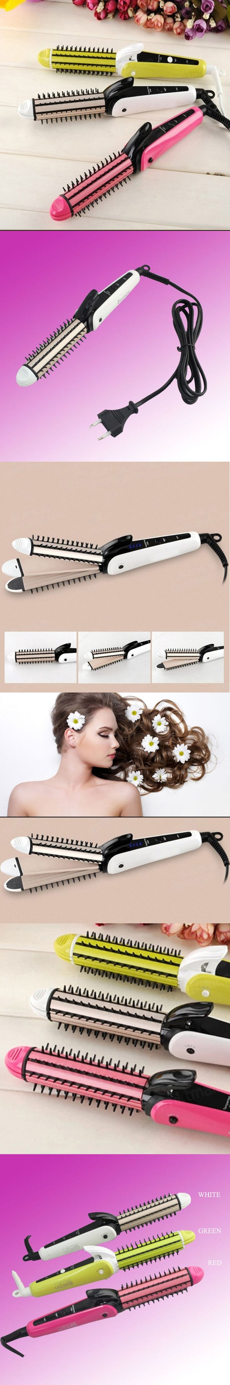 3in1 Curling Iron Automatic Hair Curler EU Plug Curling Iron Hair Perming Device Hair Straightener Wet And Dry Dual Use