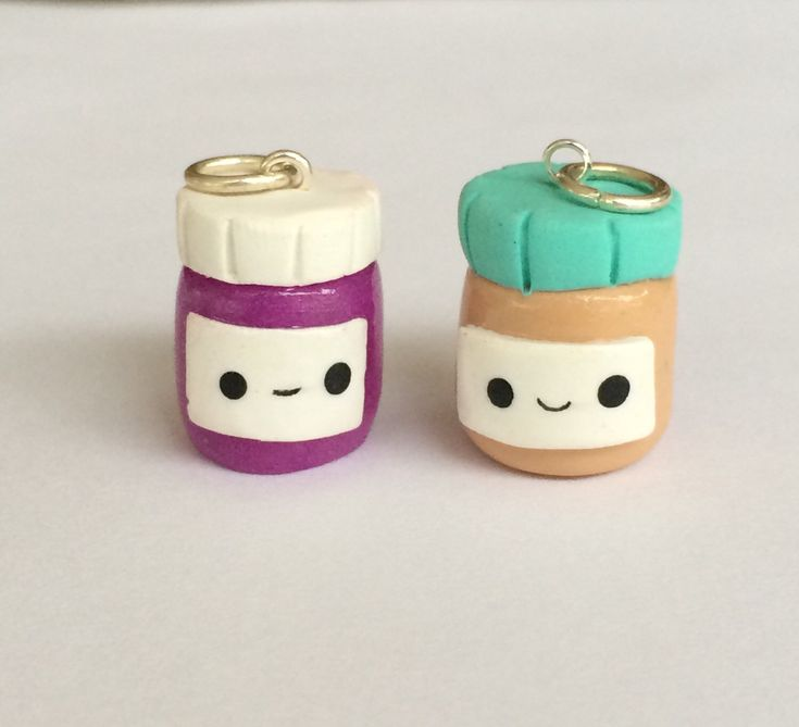 Polymer clay peanut butter and jelly jars, miniature food jewlery, friendship charms, polymer clay charms,  polymer clay food charm by KawaiiCreationz on Etsy https://www.etsy.com/listing/211852847/polymer-clay-peanut-butter-and-jelly