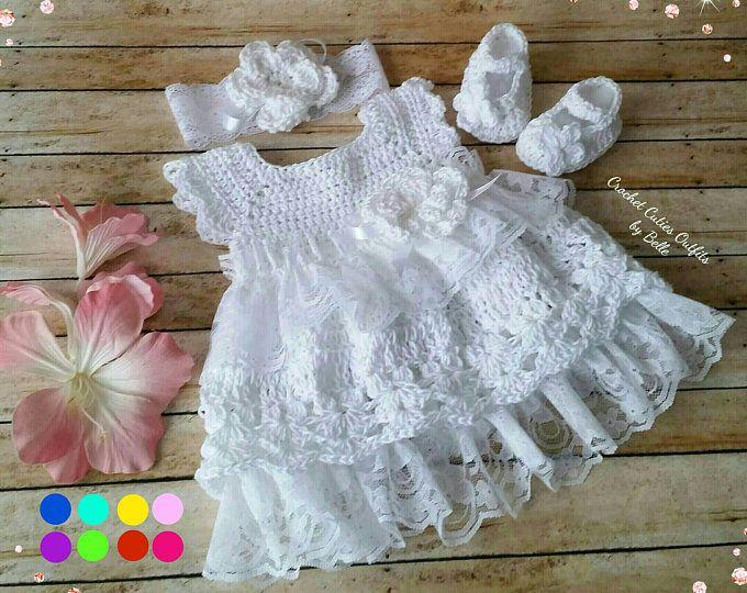 3 pc Crochet Baby Dress, Infant Baby Dress, Baby Girl Dress, Newborn Baby Dress, Baby Gift, Infant D
