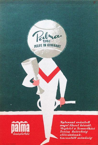 Palma tennis-ball (Vajda, Lajos - 1958 - 17 x 24 cm) - 200 USD at Budapest Poster Gallery