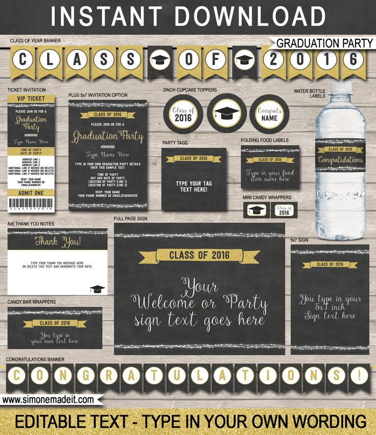 Editable Graduation Party Printables, Invitations and Decorations | Gold Glitter and Chalkboard | Printable DIY Templates | $12.50 INSTANT DOWNLOAD via SIMONEmadeit.com
