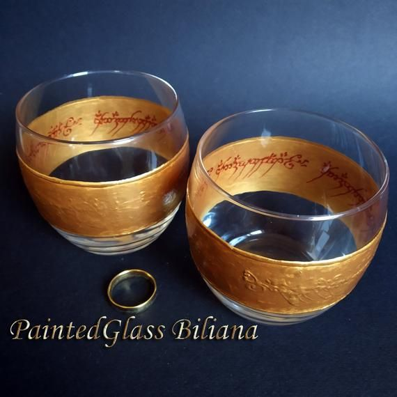 Lord of the rings LOTR Set of 2 hand painted wedding champagne flutes
