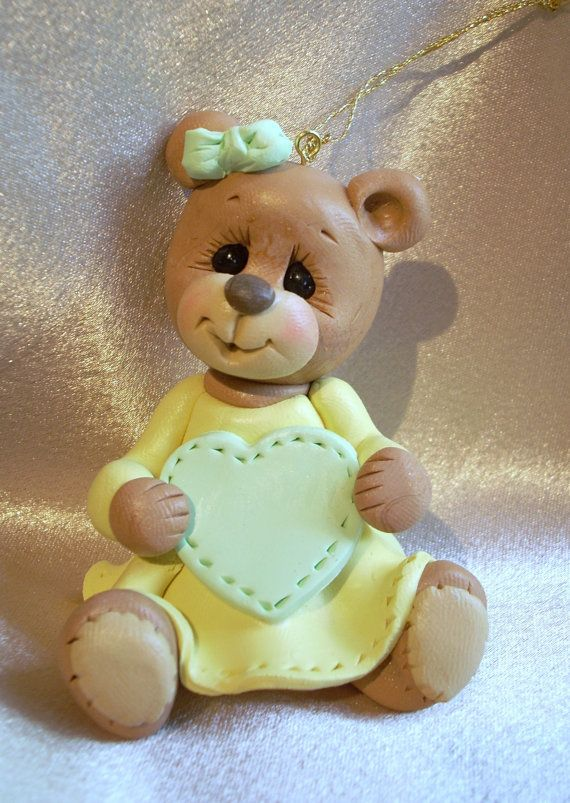 polymer clay teddy bear personalized Christmas ornament cake topper