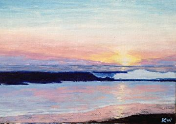 "Sunset by Kurt Weismair Acrylic ~ 4"" x 6"""