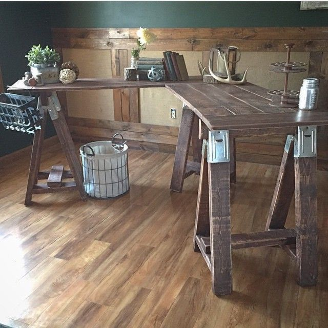 awesome version of shanty2chic triple sawhorse table they turned it into a corner desk